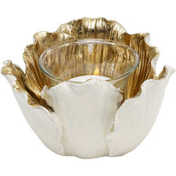 Tealight Holder Flower Bloom Creme Gold Ø10