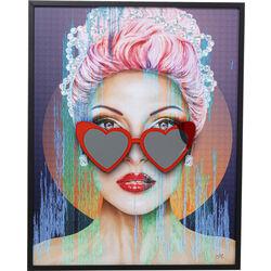 Framed Picture Heart Glasses 80x100cm