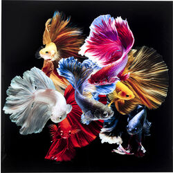 Glass Picture Colorful Swarm Fish 120x120