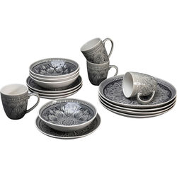 Dish Set Sicilia Mandala Grey (16-part)