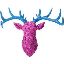 Deco Antler Deer Roses Pink Blue