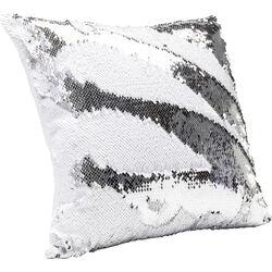 Cushion Pailette Silver - White 40x40cm