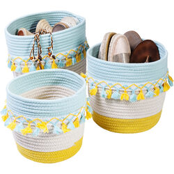 Basket Storage Fringes Yellow-Light Blue (3/Set)