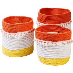 Basket Storage Fringes Orange-White (3/Set)