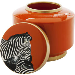 Deco Jar Zebra Orange 19cm