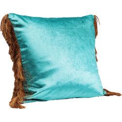 Cushion Fringes Turquoise 45x45cm
