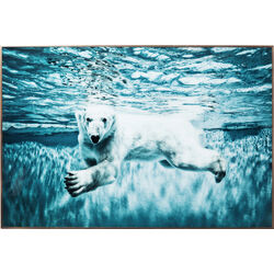 Picture Frame Alu Swimming Polar Bear 80x120cm
