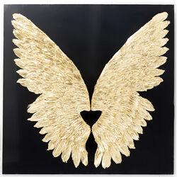 Wandschmuck Wings Gold Black 120x120cm