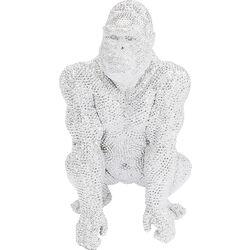 Deco Figurine Shiny Gorilla Silver 80cm