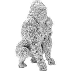 Figura decorativa Shiny Gorilla plata 46cm