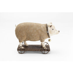 Deco Figurine  Pig On Wheels