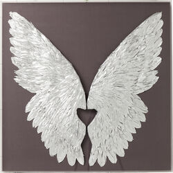 Wall Decoration Wings Silver Grey 120x120cm