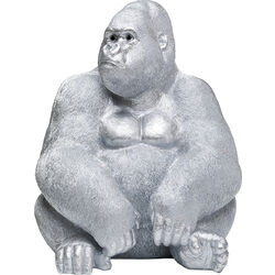 Deco Figur Monkey Gorilla Side XL Silver Matt