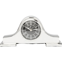 Table Clock Fireplace Silver