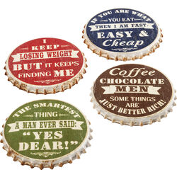 Coaster Crown Cap Assorted (4/Set)
