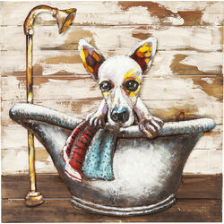Tableau Iron Bathing Dog 80x80cm