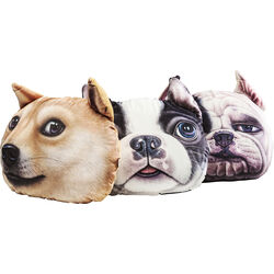 Cushion 3D Dog Face 36x38cm Assorted