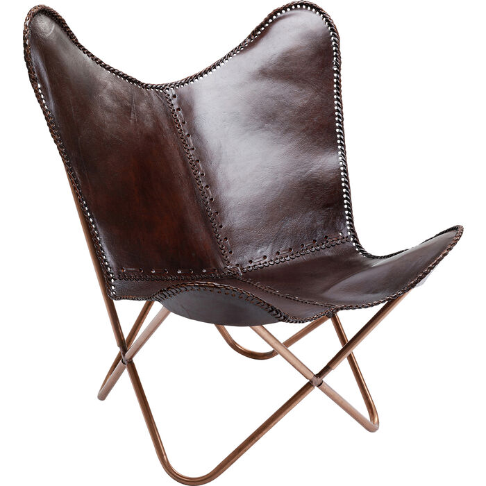 Armchair butterfly brown kare design - Fauteuil crapaud cuir marron ...