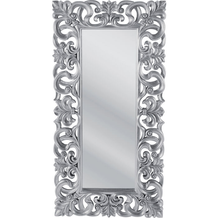 Mirror italian baroque silver 180x90 kare design for Miroir baroque
