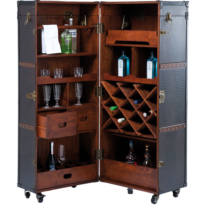 Wardrobe trunk bar colonial kare design for Mueble whisky