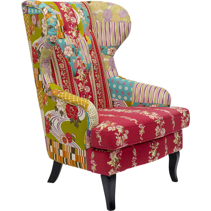 Wing chair patchwork red kare design for Ohrensessel patchwork