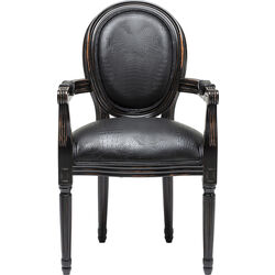 Chair with Armrest Gastro Louis Black Croco