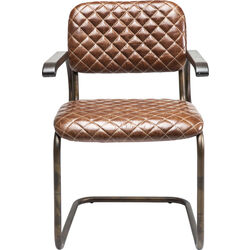 Cantilever Chair with Armrest Stich Brown