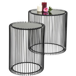Side Table Wire Black (2/Set) Ø44cm