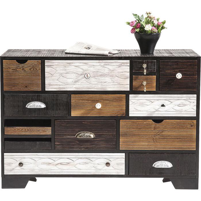 kare 80182 kommode finca 6 sch be m bel holz schwarz braun wei 30 x 50 x 100 cm smash. Black Bedroom Furniture Sets. Home Design Ideas