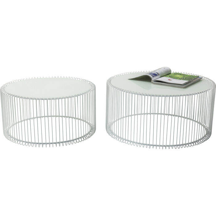 Kare Black Coffee Table: Coffee Table Wire White (2/Set)