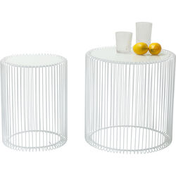 Side Table Wire White (2/Set) Ø44cm