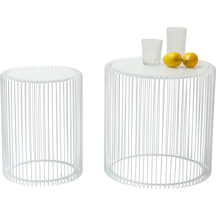 side table wire white  2  set