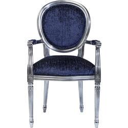 Chair with Armrest Posh Silver Dunkelblau
