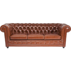 Sofa Oxford 3 places cuir Bycast Cognac