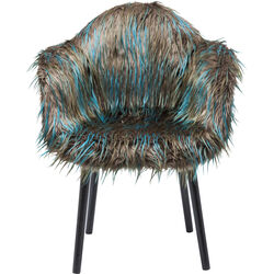 Chair with Armrest Yeti Fur Dark Green