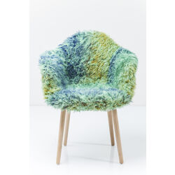 Chair with Armrest  Yeti Fur Light Green