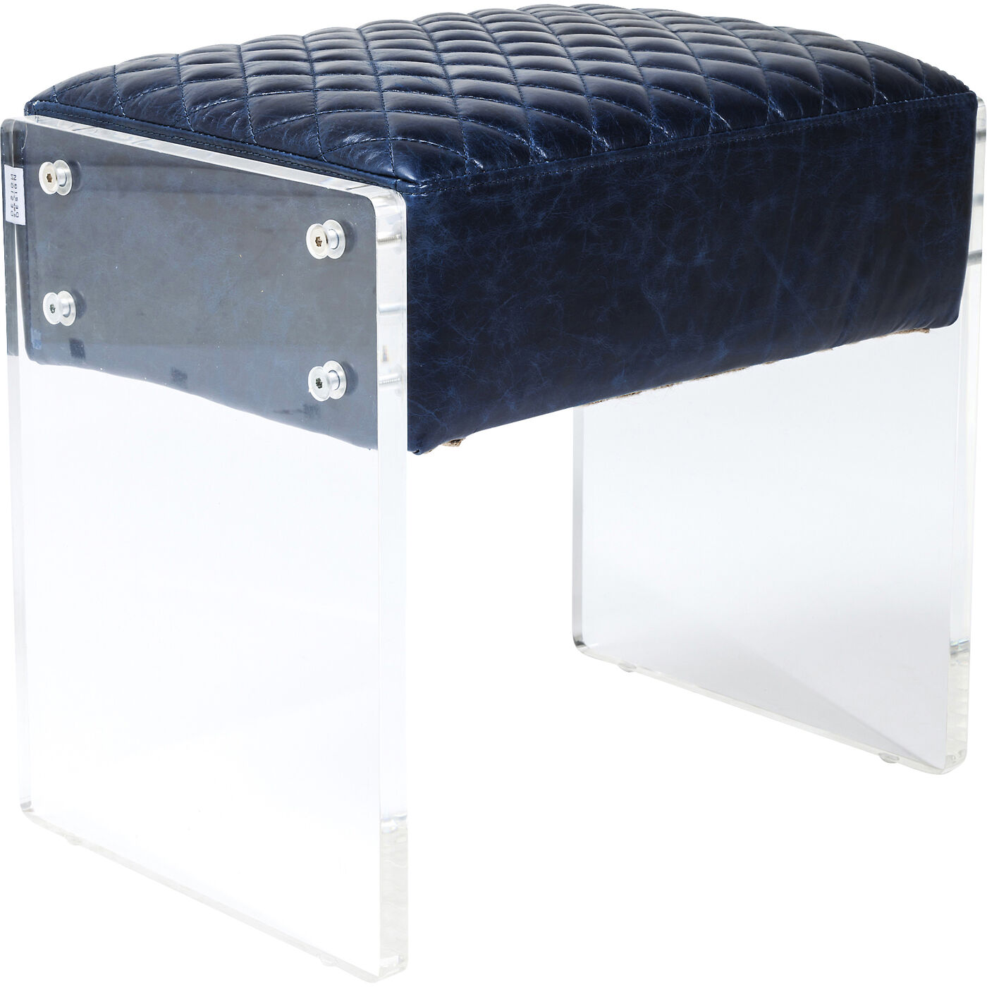 Stool Stich Visible Blue Leather