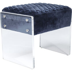 Stool Stich Visible Blue Velvet