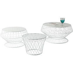 Side Table Wire White (3/Set)