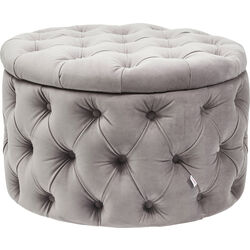Seating Chest Desire Round Velvet Silver