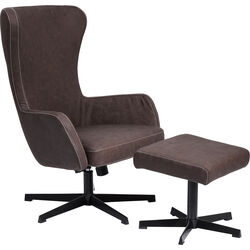 Swivel Chair + Stool Montana Brown