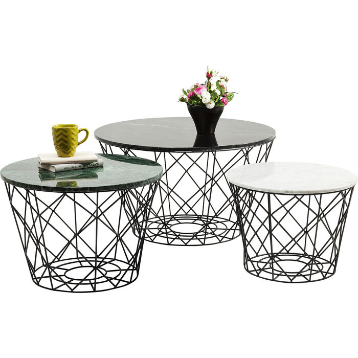 Kare Black Coffee Table: Coffee Table East Round (3/Set)