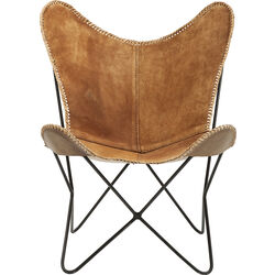 Armchair Butterfly Suede Leather Brown