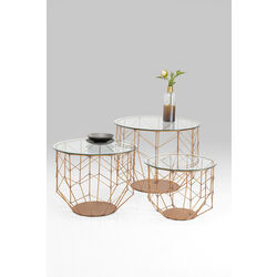 Coffee Table Wire Grid Copper (3/Set)