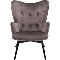 Armchair Black Vicky Velvet Grey