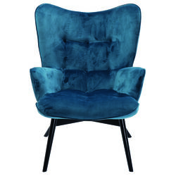 Armchair Black Vicky Velvet Bluegreen