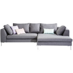 Corner Sofa Gianni Grey Right chrome