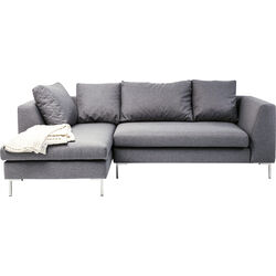 Corner Sofa Gianni Small Grey Left Chrome