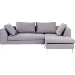 Corner Sofa Gianni Small Grey Right chrome