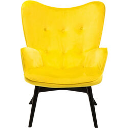 Armchair Black Vicky Velvet Yellow